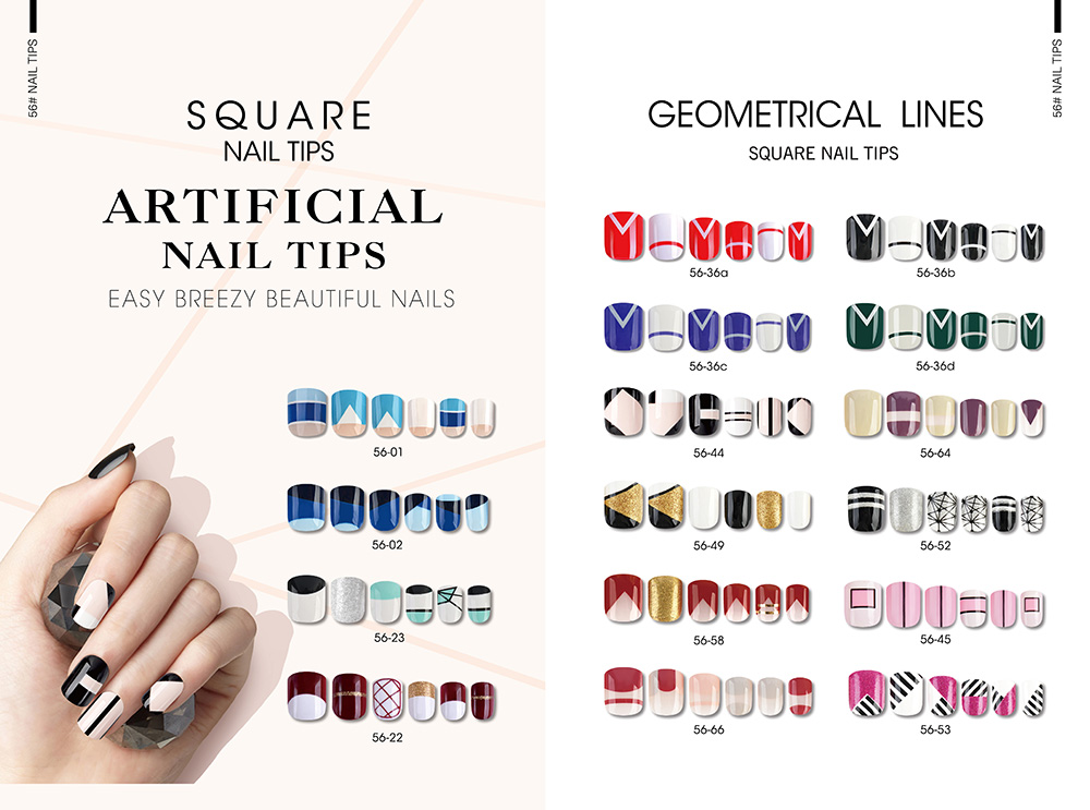 GEOMETRICAL LINES SQUARE NAIL TIPS