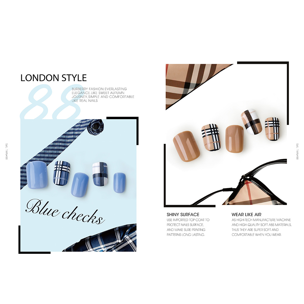Good Quality Rhinestone Decoration Artificial Nails - LONDON STYLE NAIL TIPS – Rainbow detail pictures