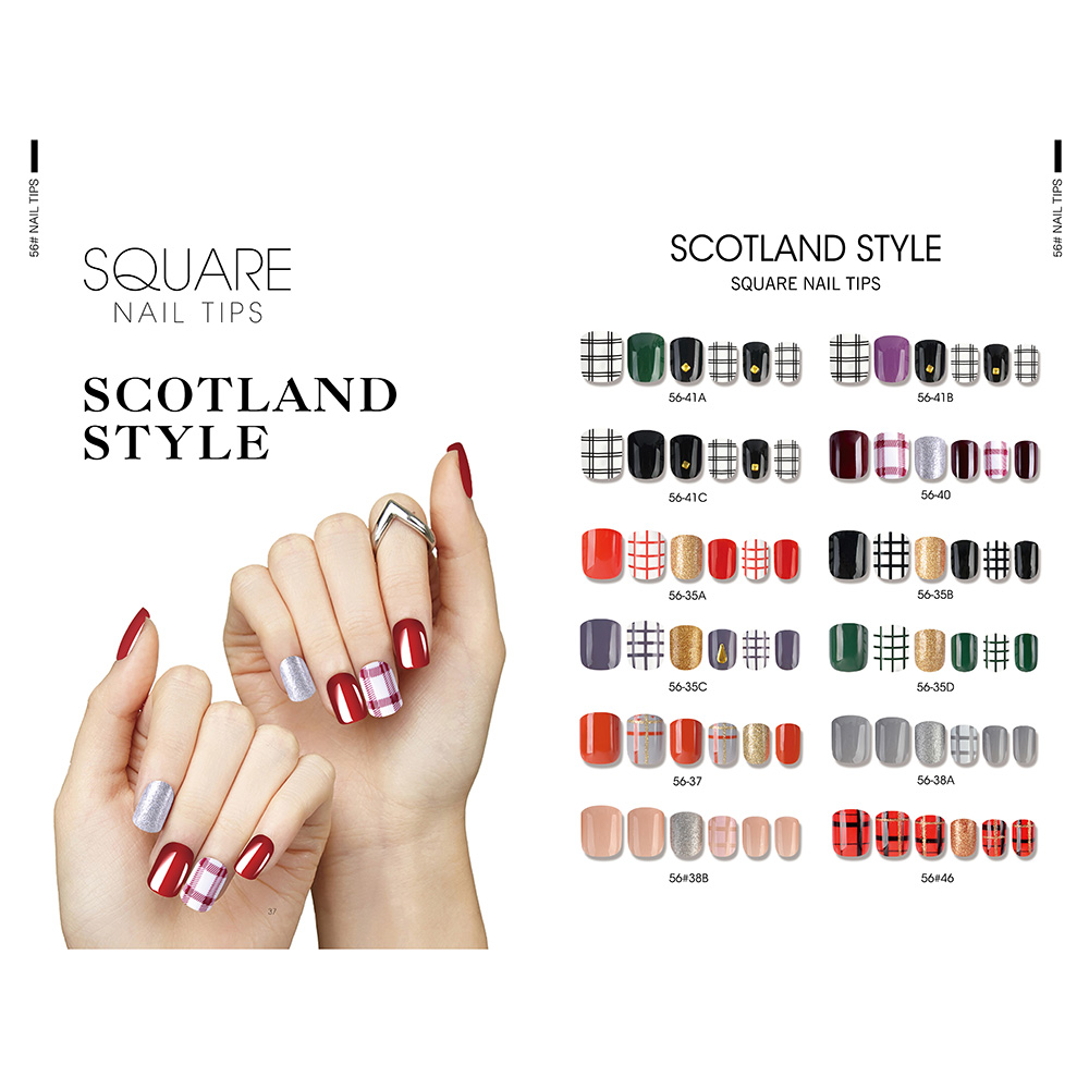 Lowest Price for Free Sample Gel Polish - SCOTLAND STYLE SQUARE NAIL TIPS – Rainbow detail pictures