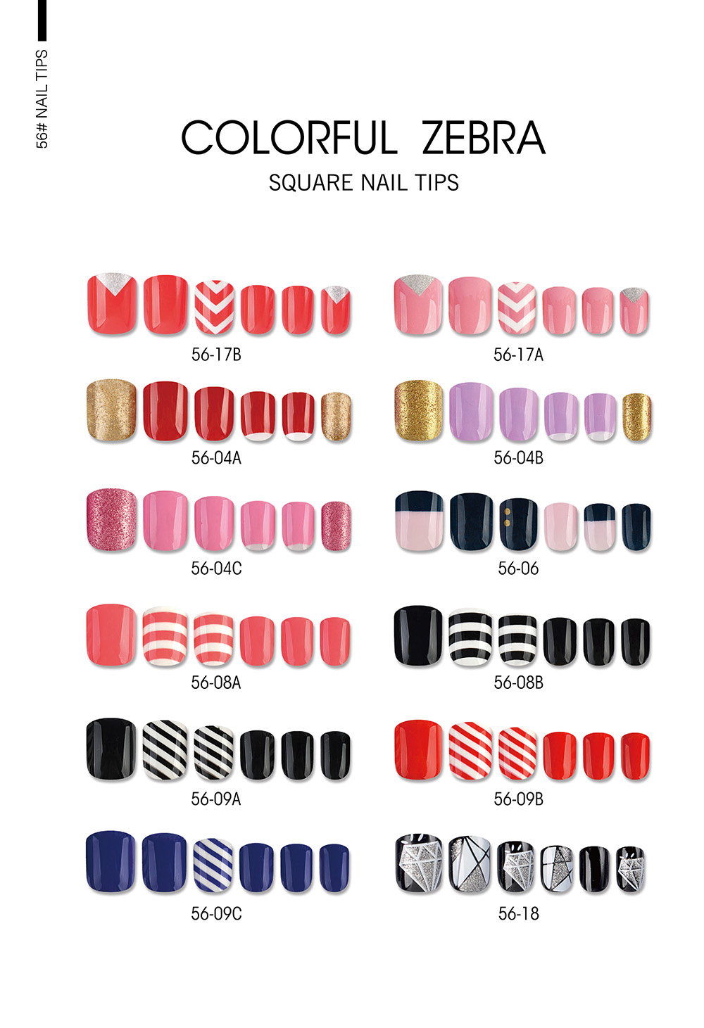 ZEBRA COLOURFUL TIPS SQUARE NAIL