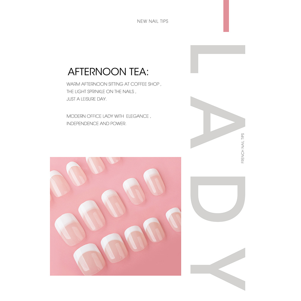 Low price for Set Artificial Nail Art Tips - FRENCH NAIL TIPS(AFTERNOON TEA) – Rainbow detail pictures