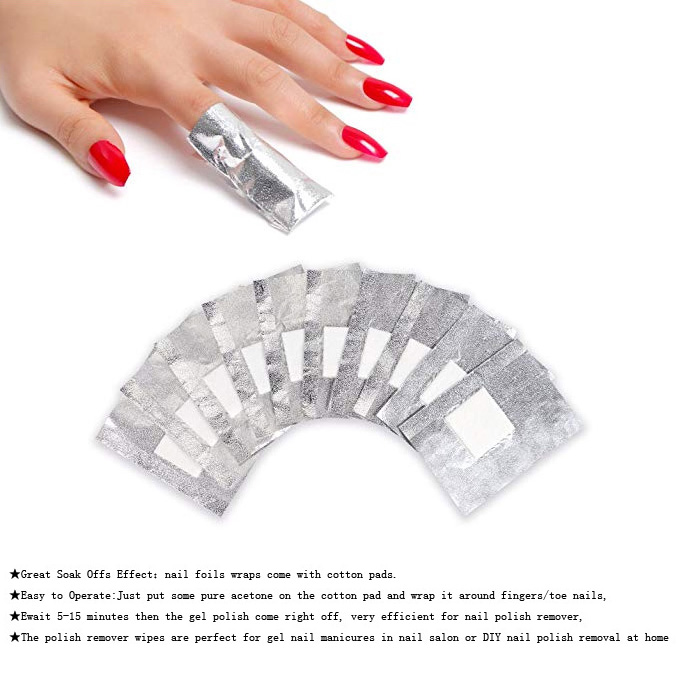 FOIL NAIL WRAPS WITH COTTON PADS