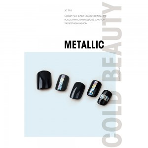 Buy Black Metallic Nail Tips Online- szrainbowstar.com Picture 2
