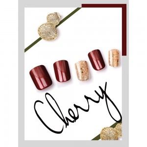 CLASSIC RED & GOLD SEQUINS NAIL TIPS